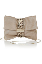 Jimmy Choo Chandra glittered suede shoulder bag