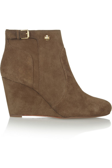 f31f68bffaebe Tory Burch. Milan suede wedge ankle boots