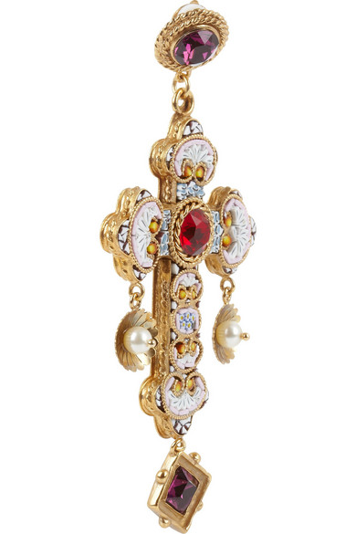 4bf8fac77 Dolce & Gabbana | Gold-plated Swarovski crystal cross clip earrings ...