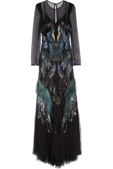 5947c6bc48c92 Gucci | Sequin and feather-embellished tulle gown | NET-A-PORTER.COM