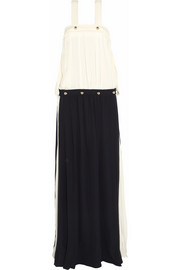 Two-tone silk-georgette maxi dress