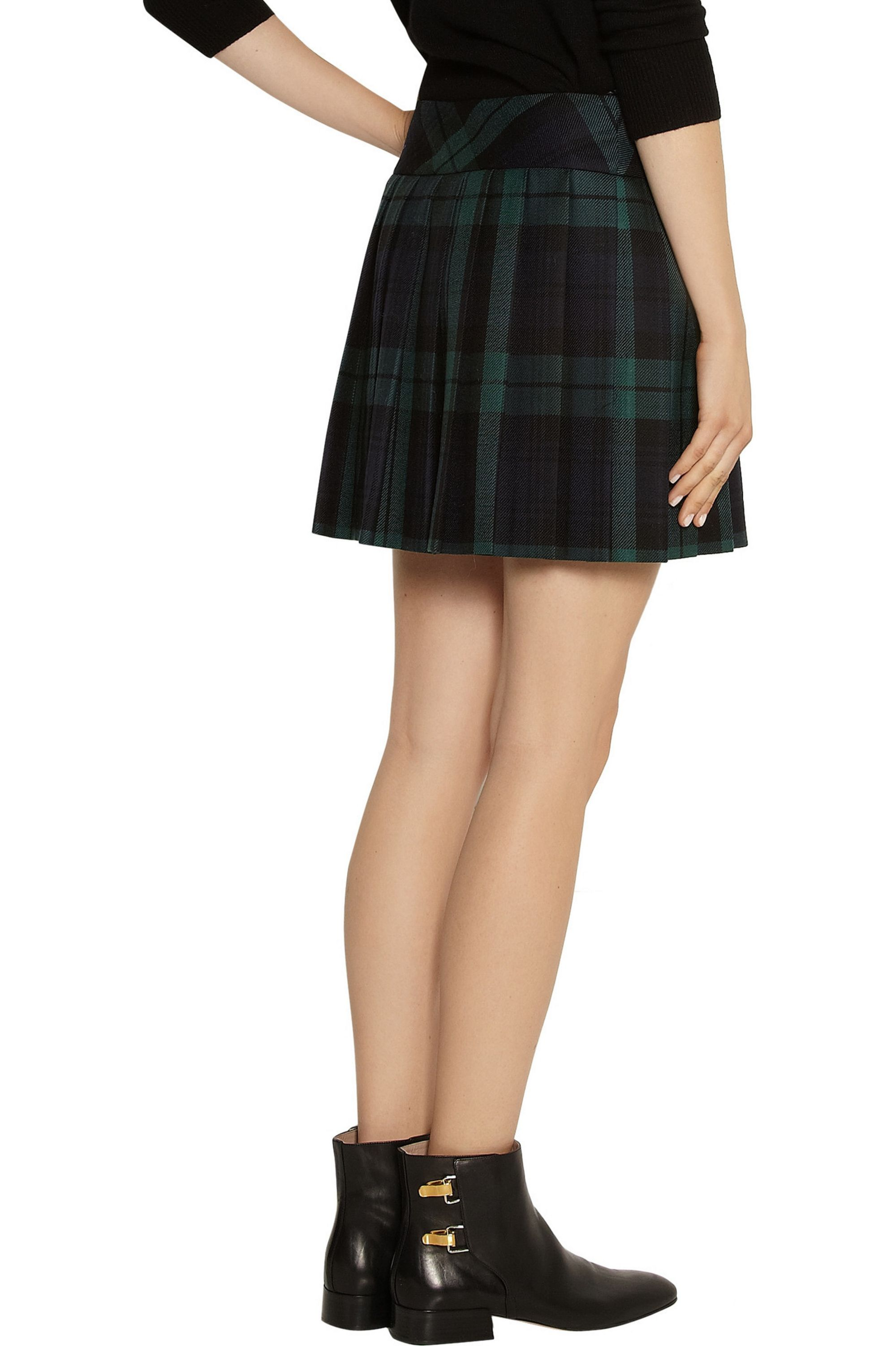 Moschino Plaid wool-twill kilt