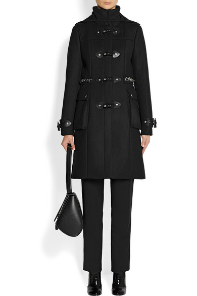 Givenchy   Black hooded wool-blend duffle coat with silver chain ...
