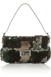 Baguette paillette and bead-embellished silk shoulder bag