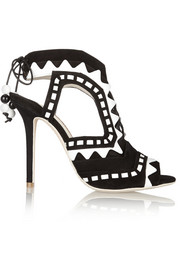 Riko cutout patent-leather and suede sandals