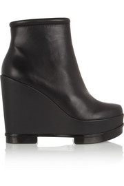 Sarla leather wedge boots