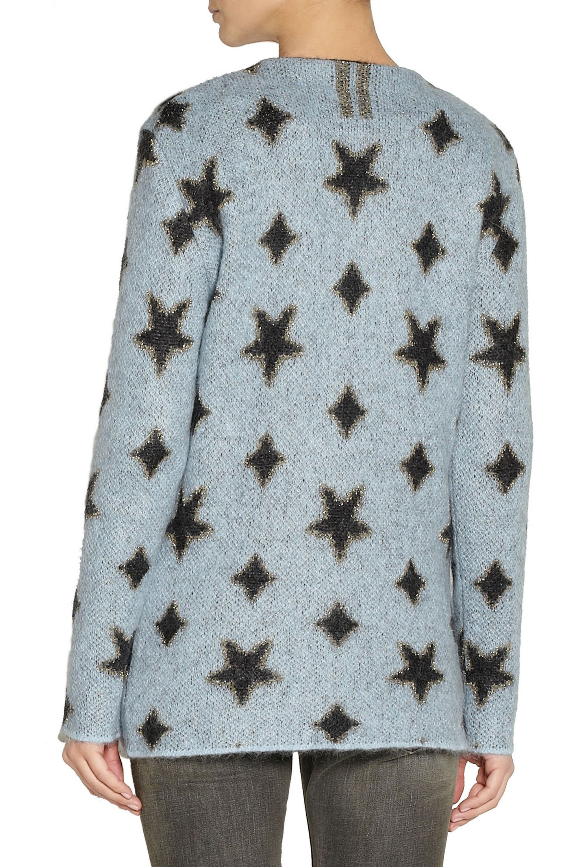 SAINT LAURENT Star-patterned knitted cardigan
