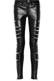 Slit-detailed leather pants
