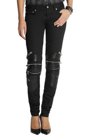 Saint Laurent Leather-paneled skinny jeans