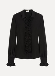 Saint Laurent Ruffled silk crepe de chine blouse