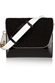 NewbarK Scarlette shearling and patent-leather shoulder bag