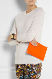 Super Fluro two-tone leather pouch
