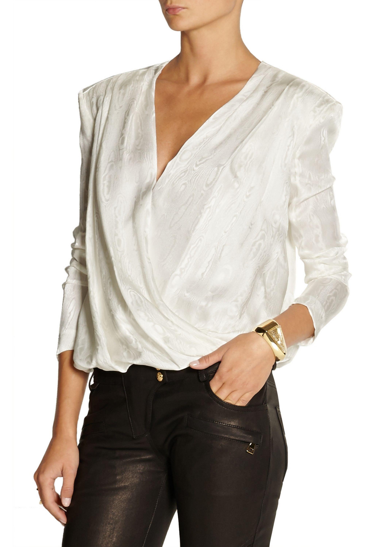 Balmain Wrap-effect silk-jacquard blouse