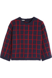 Checked wool-blend sweater