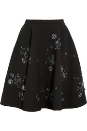 Embellished wool-crepe skirt
