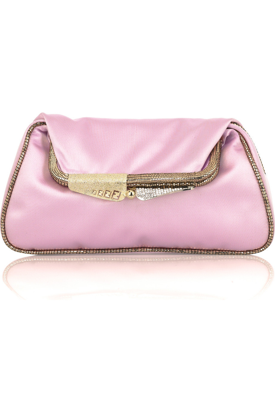 Fendi Mini Borderline satin clutch  | NET-A-PORTER.COM from net-a-porter.com