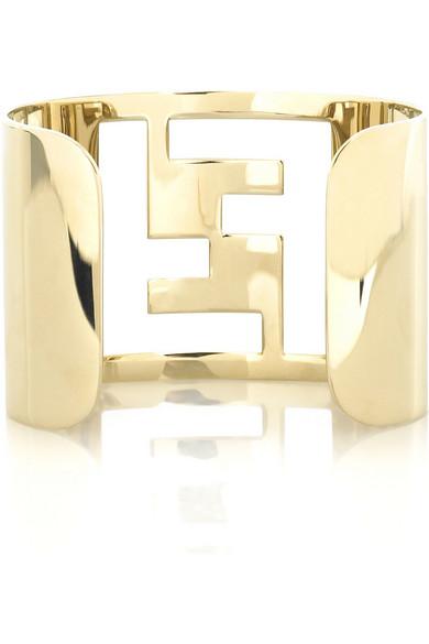 Fendi gold tone logo cuff net a porter com for Net a porter logo