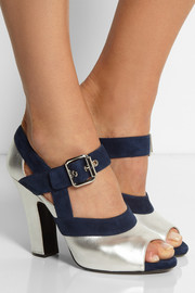 Miu Miu Metallic leather and suede Mary Jane pumps