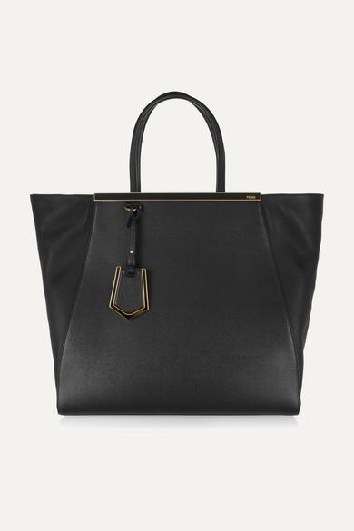 fendi female fendi 2jours large texturedleather shopper black