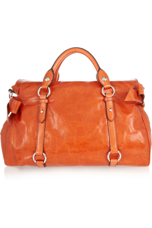 Miu Miu Bow-embellished leather tote