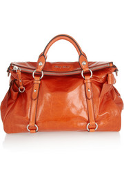 Bow-embellished leather tote