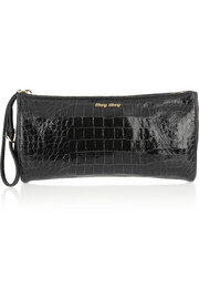 Miu Miu Croc-effect glossed-leather pouch