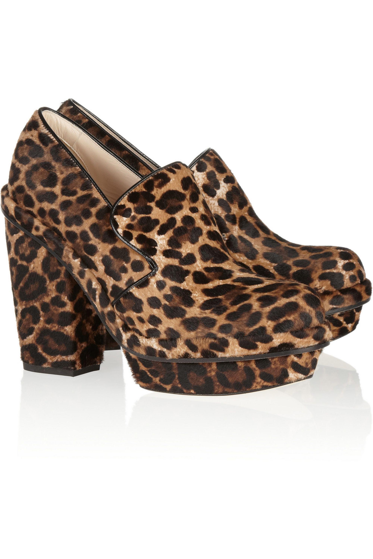 Simone Rocha Leopard-print calf hair platform pumps