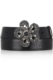 Miu Miu Cracked-leather and Swarovski crystal belt