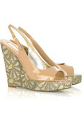 Roberto Cavalli Patent embroidered wedge