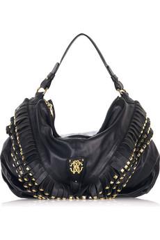 Roberto Cavalli Leather fringed shoulder bag