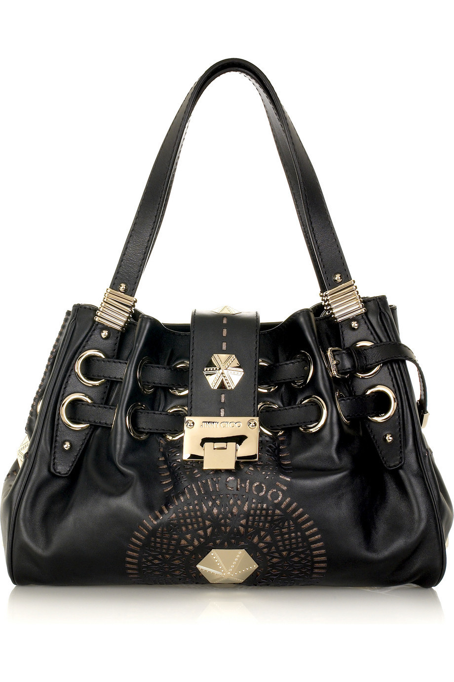 Jimmy Choo Riki lazer-cut leather bag | NET-A-PORTER.COM from net-a-porter.com