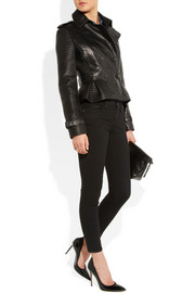 Burberry London Leather peplum jacket