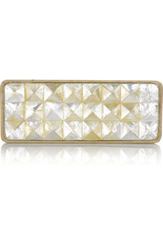Celestina Pina oakwood clutch
