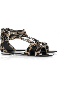 BalmainLeopard print ponyskin sandals
