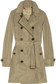 Hooded packaway trench coat
