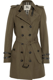 Mid-length cotton-gabardine trench coat