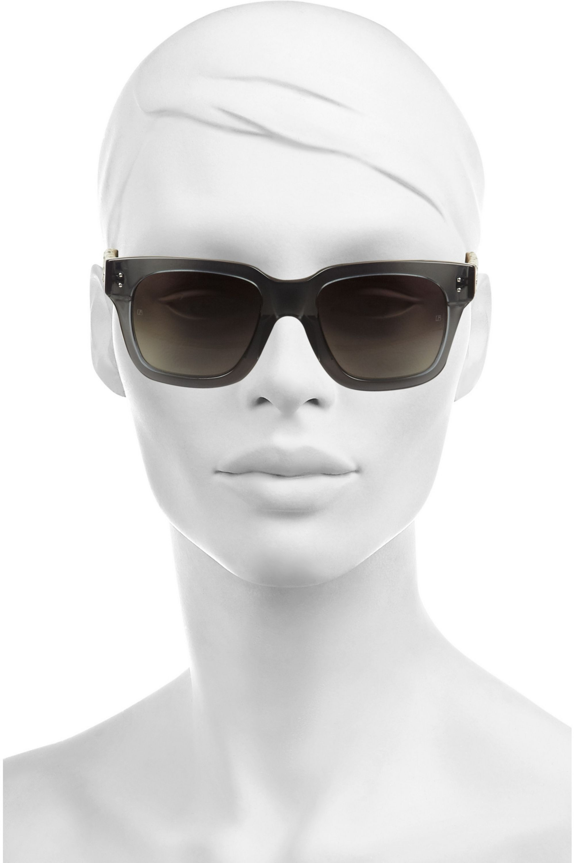 Linda Farrow Square-frame acetate and watersnake sunglasses