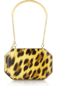 Roberto Cavalli Leopard print box clutch|NET-A-PORTER.COM from net-a-porter.com