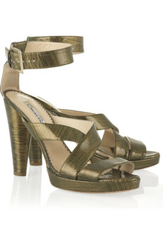 Oscar de la Renta Brushed patent platform sandal