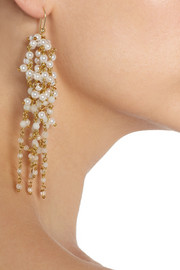 RosanticaZampillo gold-dipped pearl and rock crystal earrings
