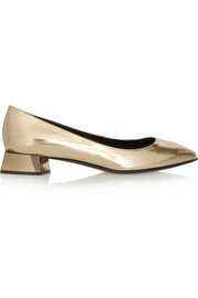 Fendi Metallic leather flats