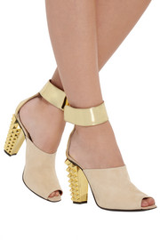 Fendi Metallic leather and suede sandals
