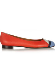 Fendi Textured-leather ballet flats