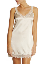 Stella McCartney Minnie Sipping lace-trimmed stretch-silk satin chemise
