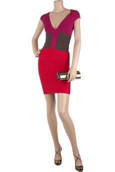 Hervé LégerTwisted color-block dress