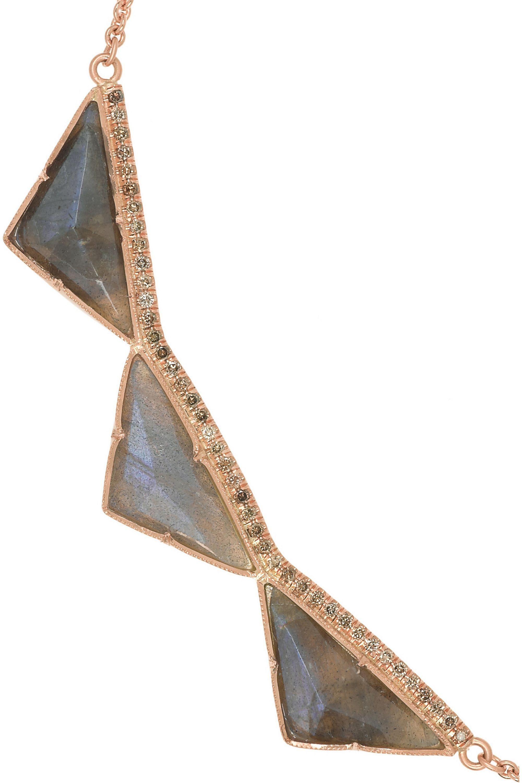 Brooke Gregson 18-karat rose gold, labradorite and diamond necklace
