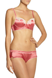 Elle Macpherson Intimates Casablanca lace-appliquéd stretch-silk satin contour bra