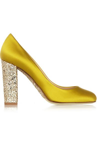 J.Crew | Collection Etta glitter-embellished satin pumps | NET-A ...