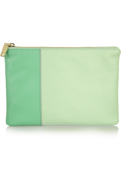 J.Crew. Two-tone textured-leather pouch 1eb7ac56092b2