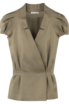 Oscar de la Renta Silk pleated sleeve jacket